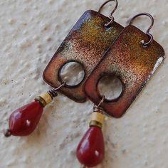 Rectangular Enameled Copper & Ruby Jade Earrings