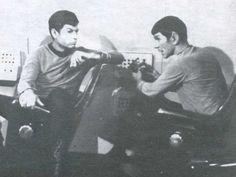 DeKelley and Nimoy on set, aboard the Galileo