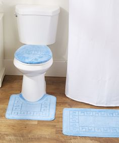 Light Blue Greek Key Three Piece Bathroom Rug Set