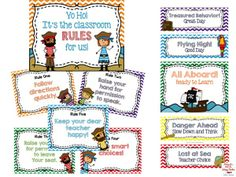 Pirate themed classroom rules and behavior clip chart. Student Binder Covers, Student Binders, Student Desks, Classroom Rules, School Classroom, Classroom Themes, Classroom Resources, Pirate Decor, Pirate Theme