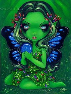Green Fairy - Big Eyed Fairy Art : Verdant Green - Lowbrow Art by Jasmine Becket-Griffith Dracula, Realistic Eye Drawing, Drawing Tips, Drawing Ideas, Sketch Ideas, Gothic Themes, Gothic Fairy, Green Art, Eye Art