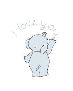 Elephant Nursery -- I Love You Nursery Art Print -- Elephant Love Note, ABC Kids Nursery Wall Decor -- Children's Art Print, Kids Wall Art Elephant Nursery Art, Elephant Love, Baby Elefante, Images Disney, Image Deco, Art Mignon, Belly Painting, Cute Drawings, Cute Wallpapers
