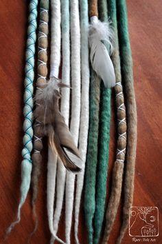 DE felt wool dreads dreadlocks hair extensions by RaevFeltArt