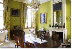 this is more of the color I want for the living room Green Dining Room, Dining Rooms, Copper Furniture, White Dishes, Yahoo Search, Bright Green, Ciel, Colorful Interiors, Floors