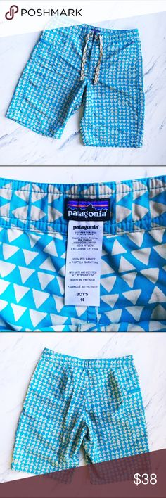 Patagonia Boys' Patterned Wavefarer Shorts Perfect condition!! Super cool board shorts. Tie at the waist, zipper at the right hip. Ready to catch some waves! Patagonia written at bottom of back left short leg. Patagonia Bottoms Shorts