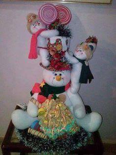 Blog voltado à artesanato em geral. Felt Christmas Decorations, Christmas Ornaments, Holiday Decor, Snowman Crafts, Christmas Projects, Diy And Crafts, Xmas, Pattern, Moda Fashion