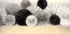 Modern Silver, Black and White Ka-Lollie Paper Rosette Backdrop for Wedding/Shower/Nursery (Featured on HWTM)