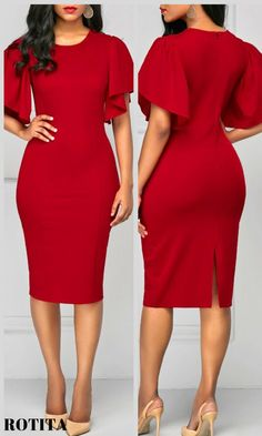 Red Back Slit Round Neck Sheath Dress .From parties and formal dinners to work events and casual summer afternoons,our women's dress selection features something fllatering for every occasion.#rotita