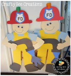 "Adorable Fire Fighter with Hose Cut and Paste project! Just download the patterns, print on to construction paper, and cut! When fully made this project sits over 2 feet tall and your kiddos will just love standing next to their own homemade fire fighter. Read the book, ""Firefighter Ted"" as a great companion to this project."