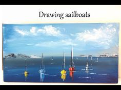 How to paint seascape Acrylic Painting Tutorials, Acrylic Art, Abstract Landscape Painting, Landscape Paintings, Sailboat Painting, Painting Canvas, Drawings, Artwork, Sailboats