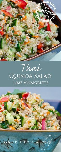 Thai Quinoa Salad with Fresh Herbs and Lime Vinaigrette. Sub vegan fish sauce for vegan.