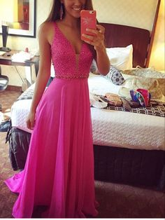 Delicate Sequins Beadings Chiffon Prom Dress 2016 A-line Straps Sleeveless - Products - 27DRESS.COM