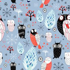 winter texture of owls and snowflakes Royalty Free Stock Vector Art Illustration - like how awkward and drawn these look