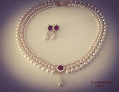 Wedding Set Pearls and Ruby Red Stone Ivory Cream Pearls Necklace And Earrings Bridal Set Drop Pearl