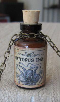 Octopus Ink Cthulhu Potion Bottle Necklace Pendant Apothecary Vial...from TARA FIELDS-Bwahahahahahaaaaaa