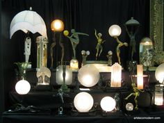 Wonderful collection of Frankart and European art deco lamps from the New York Pier Show 2010.