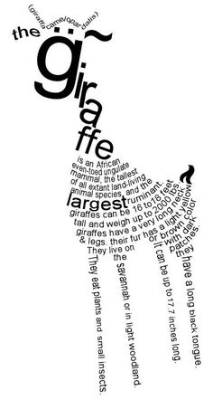 """Giraffe"" - by frozenpandaman, via deviantART about puppies and kittens, inspirational theme, famous about success after struggle. Giraffe Quotes, Giraffe Art, Cute Giraffe, Giraffe Pictures, Animal Pictures, Shape Poems, Animals And Pets, Cute Animals, Word Art"