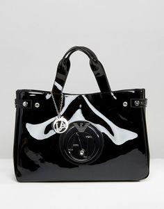 c6bf5a6d5c4f Armani Jeans Patent Tote Bag in Black
