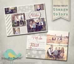 Christmas Card PHOTOSHOP TEMPLATE - Family Christmas Card 89 by SugarfliesDesigns on Etsy