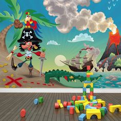 3D wallpaper for walls 3d murals wallpaper backgrounds Cartoon Pirate Kids Wallpaper Murals wallpaper for child bedroom