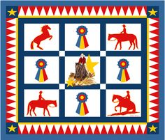 Champion_Western_Horse_Quilt fabric by dehaan_designs on Spoonflower - custom fabric Western Quilts, Horse Quilt, Equestrian Gifts, Quilted Gifts, Applique Quilts, Quilt Top, Custom Fabric, Spoonflower, Cool Art