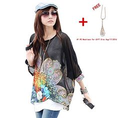 Doinshop Lady Black Batwing Sleeve Chiffon Shirt Bohemian Tops Oversized Blouse (L)