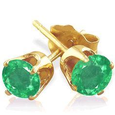 Carat Emeraude clous d'oreilles - or jaune - Diamantring Diamantarmband Diamant 14k White Gold Earrings, Emerald Earrings, Gemstone Earrings, Stud Earrings, Glass Earrings, Silver Wings, Gold Chrome, Colombian Emeralds, Natural Gemstones