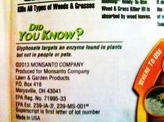 RoundUp-rikkakasvimyrkyn etiketti sisältää virheellistä tietoa.