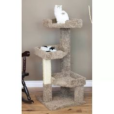 """46"""" New Cat Condos Solid Wood Triple Kitty Pad"""