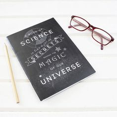 Science is Magic Chalkboard Notebook for Scientists. Plain Pages. Scientific Stationery Geeks. Black, UK Printed. Inspirational Nerd Quote on Etsy, £4.50