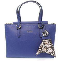 Guess Handbags ($125) ❤ liked on Polyvore featuring bags, handbags, blue hand bag, leather purses, handbag purse, blue handbags and leather handbag purse