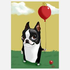 Boston Terrier Balloon Print, $16, now featured on Fab.