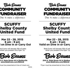 Bob Evans Community Fundraiser For SCUFFY – Dine In or Carry Out! Bob Evans will donate 15% of sales to SCUFFY. Must present this flyer at the time of check-out: