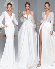bridal gowns with sleeves ball gown illusion plunging neckline simple eva lender - Gowns With Sleeves, Wedding Dress Sleeves, Long Sleeve Wedding, Best Wedding Dresses, Wedding Attire, Bridal Dresses, Wedding Styles, Wedding Gowns, Lace Dress