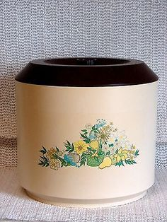 VINTAGE MID CENTURY HARD PLASTIC FLORAL CONTAINER