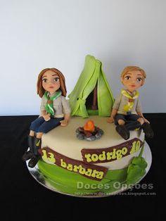 Doces Opções: Bolo de aniversário dos escuteiros Bárbara e Rodri...