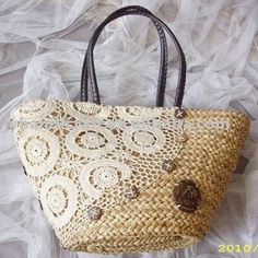 with lace handicraft straw bag , popular among young ladies