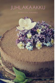 Helppo ja täyteläisen suklainen raakakakku Raw Cake, Raw Food Recipes, Eat, Desserts, Cakes, Tailgate Desserts, Deserts, Mudpie, Cake