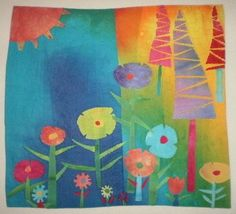 Handmade Art Quilt Spring Garden Textile Wall Hanging Collage Applique by Love2quilt on Etsy Sold.