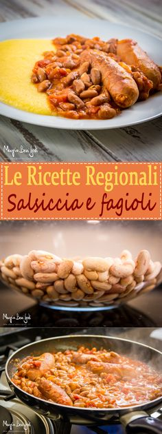 Salsiccia e fagioli alla veneta Sausage Recipes, Polenta, Macaroni And Cheese, Cereal, Good Food, Food And Drink, Chicken, Meat, Fagioli