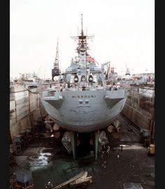 USS Missouri in dry dock