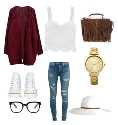 """""""Casual"""" by kinsey825 ❤ liked on Polyvore featuring Goroke, Yves Saint Laurent, Converse, Topshop, Melissa Odabash, Oasis and Forever 21"""