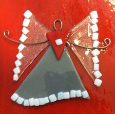 Fused glass angel ornament - Ohio State Angel