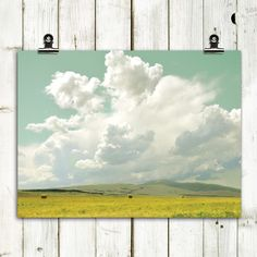 "landscape photography, clouds, hay field, modern home decor, large wall art, modern landscape - ""First Cut"" - 8x10 print. $20.00, via Etsy."