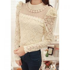 Faux Pearl Puff Sleeves Solid Color Lace Refreshing Style Blouse For Women