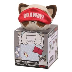 Grumpy Cat has become one of the most famous cats of all time with her grumpy face due to having dwarfism and has appeared in news and television shows around t Grumpy Face, Nighty Night, Beatrix Potter, Christening, New Baby Products, Backdrops, Adoption, Lunch Box, Elephant