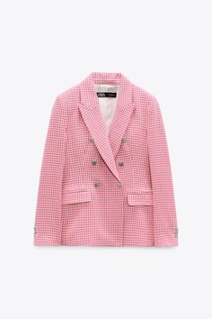 FITTED HOUNDSTOOTH BLAZER | ZARA United States Blazers, Online Zara, Mini Vestidos, Zara United States, Metal Buttons, Welt Pocket, Houndstooth, Double Breasted, Metallica