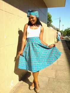 shweshwe skirts 2017 for all women - style you 7 Shweshwe Dresses, African Wear, African Style, Africa Fashion, African Design, Fashion Beauty, Womens Fashion, Flare Skirt, Traditional Dresses