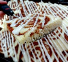 Baked Cinnamon Roll Pancakes with Maple Cream Cheese Drizzle ~ pour the batter in a big jellyroll pan, swirl with the yummy cinnamon filling... bakes up into a light and fluffy pan of a pancake glory