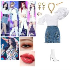 Kpop Fashion Outfits, Stage Outfits, Girly Outfits, Cute Outfits, K Pop, Bts Inspired Outfits, Pink Fashion, Polyvore Outfits, Outfit Sets